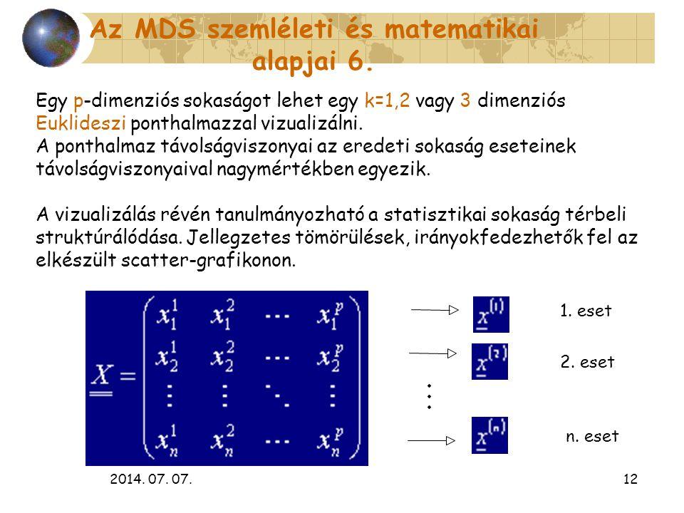 Az MDS szemléleti és matematikai alapjai 6.