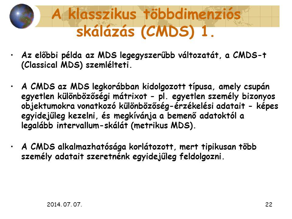 A klasszikus többdimenziós skálázás (CMDS) 1.