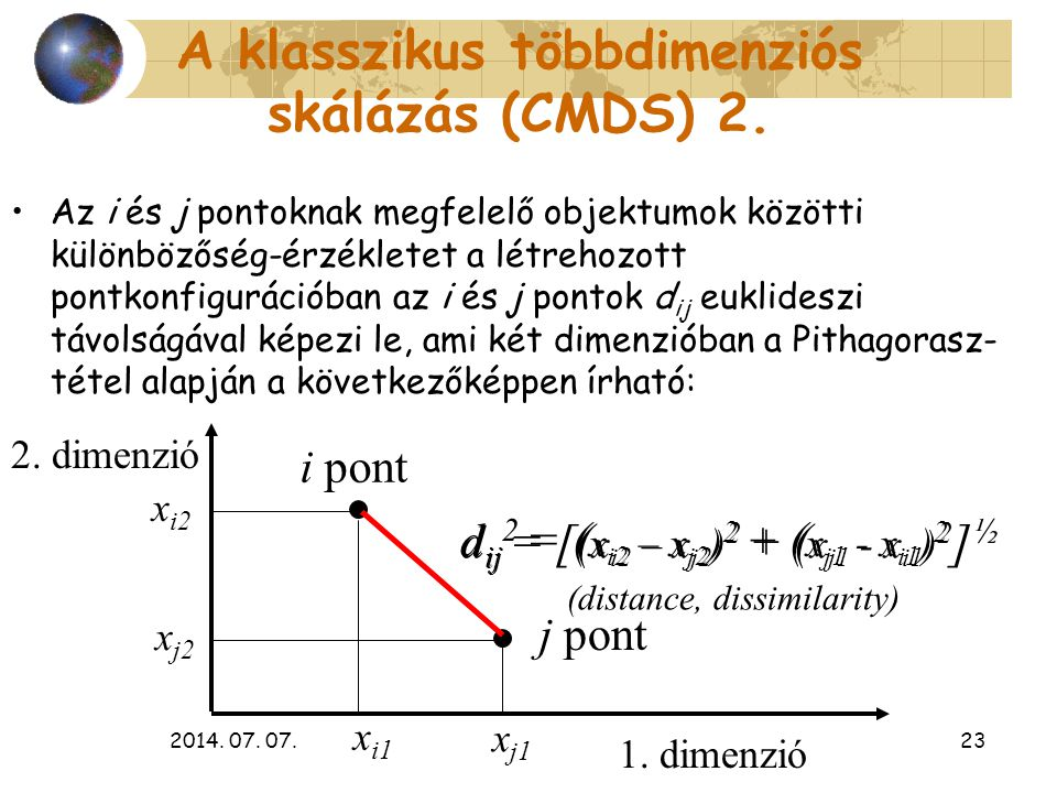 A klasszikus többdimenziós skálázás (CMDS) 2.