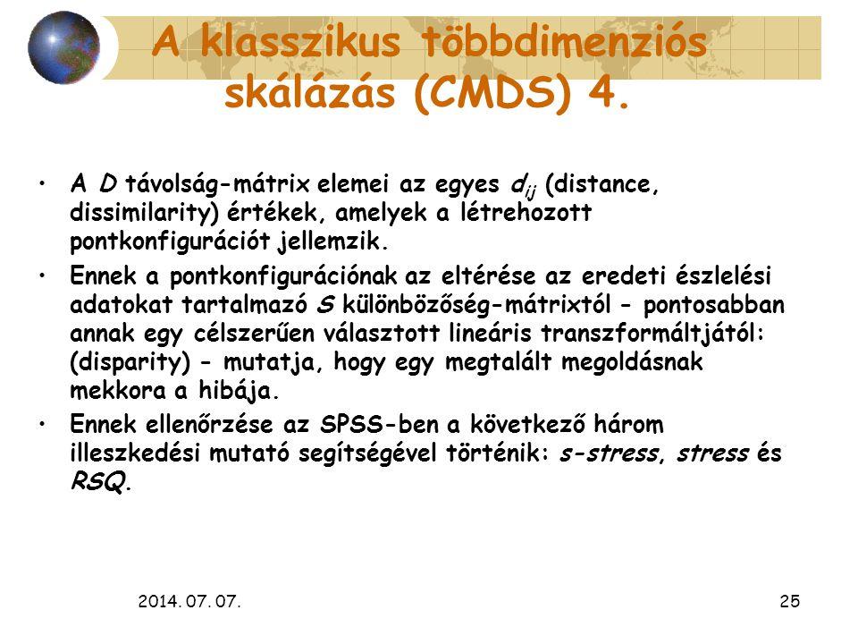 A klasszikus többdimenziós skálázás (CMDS) 4.