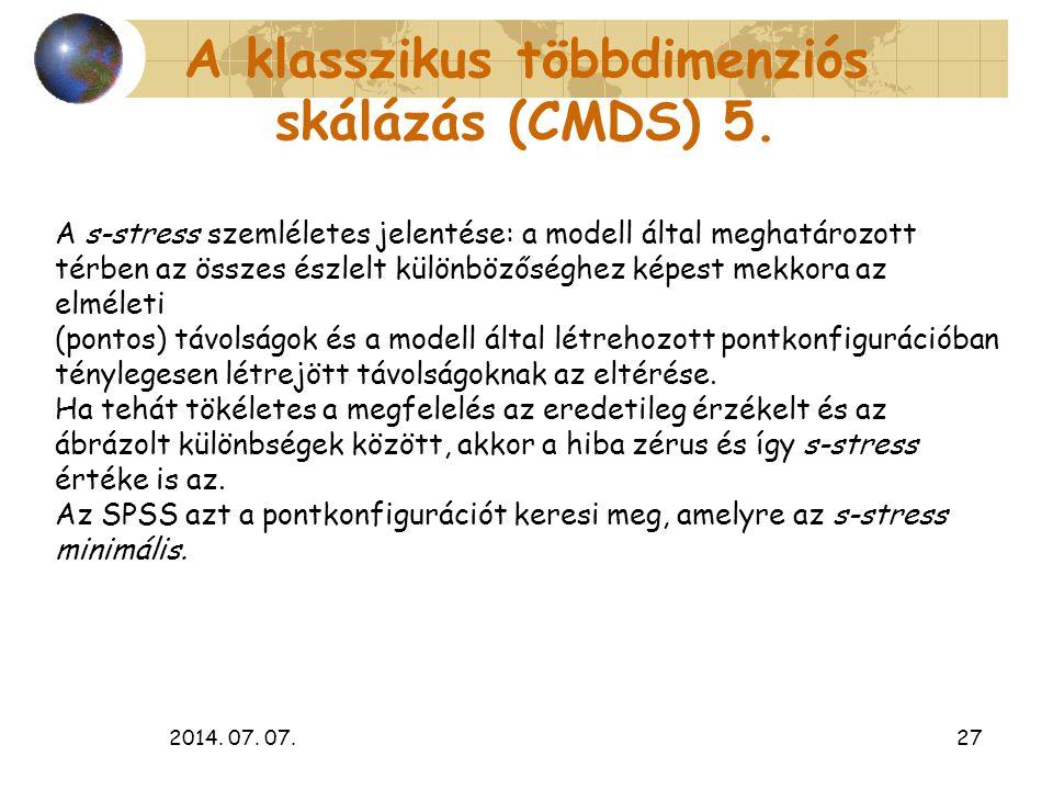 A klasszikus többdimenziós skálázás (CMDS) 5.