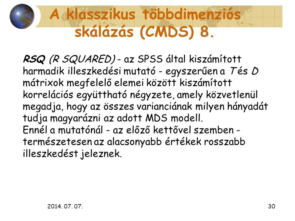 A klasszikus többdimenziós skálázás (CMDS) 8.