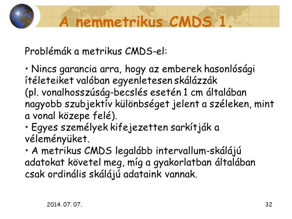 A nemmetrikus CMDS 1. Problémák a metrikus CMDS-el: