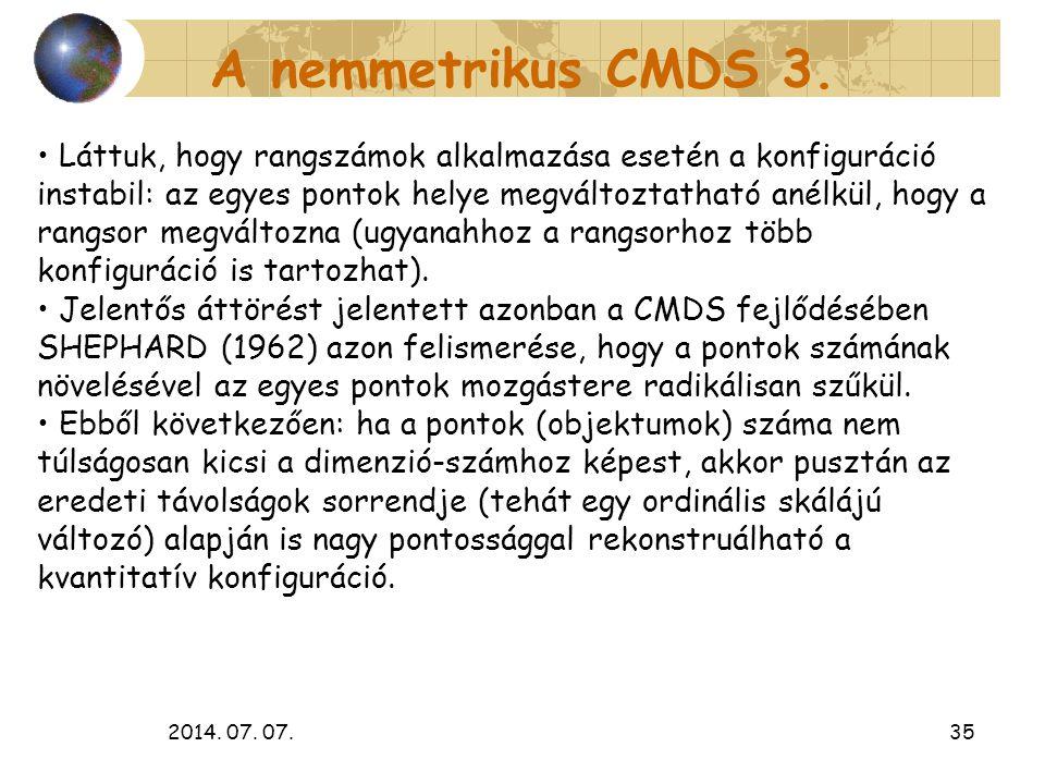 A nemmetrikus CMDS 3.