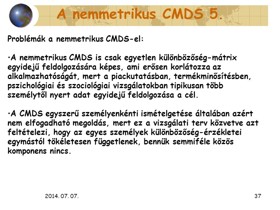 A nemmetrikus CMDS 5. Problémák a nemmetrikus CMDS-el: