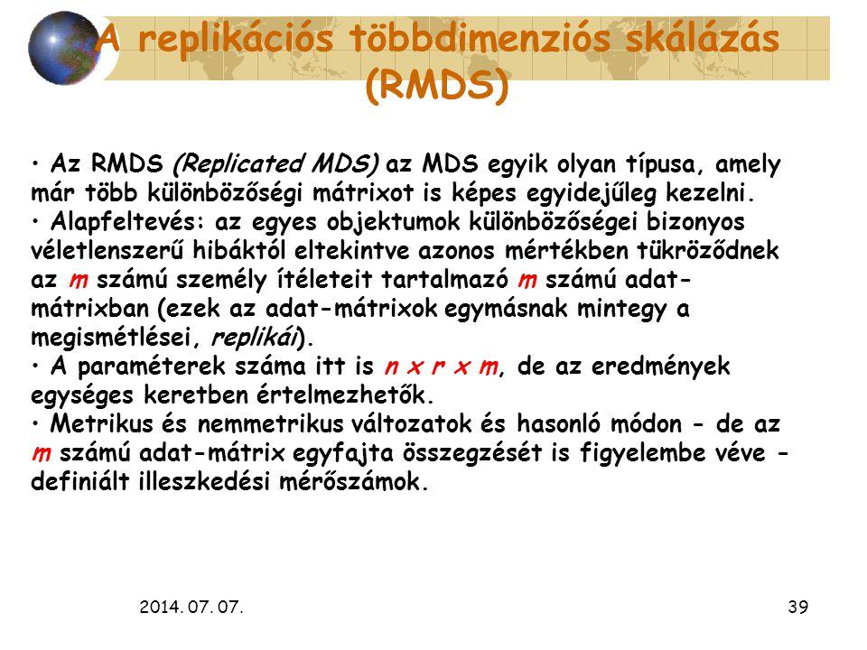 A replikációs többdimenziós skálázás (RMDS)