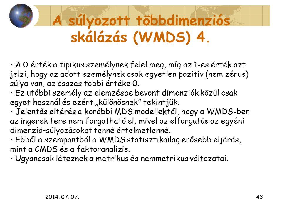 A súlyozott többdimenziós skálázás (WMDS) 4.