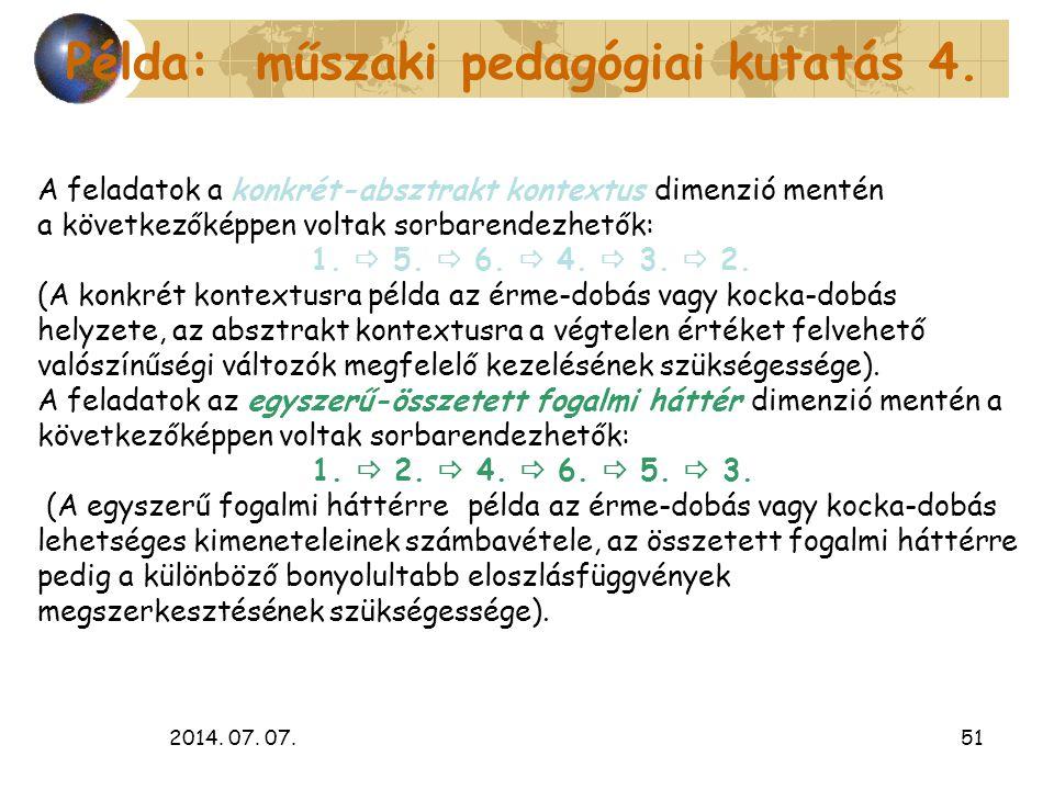 Példa: műszaki pedagógiai kutatás 4.