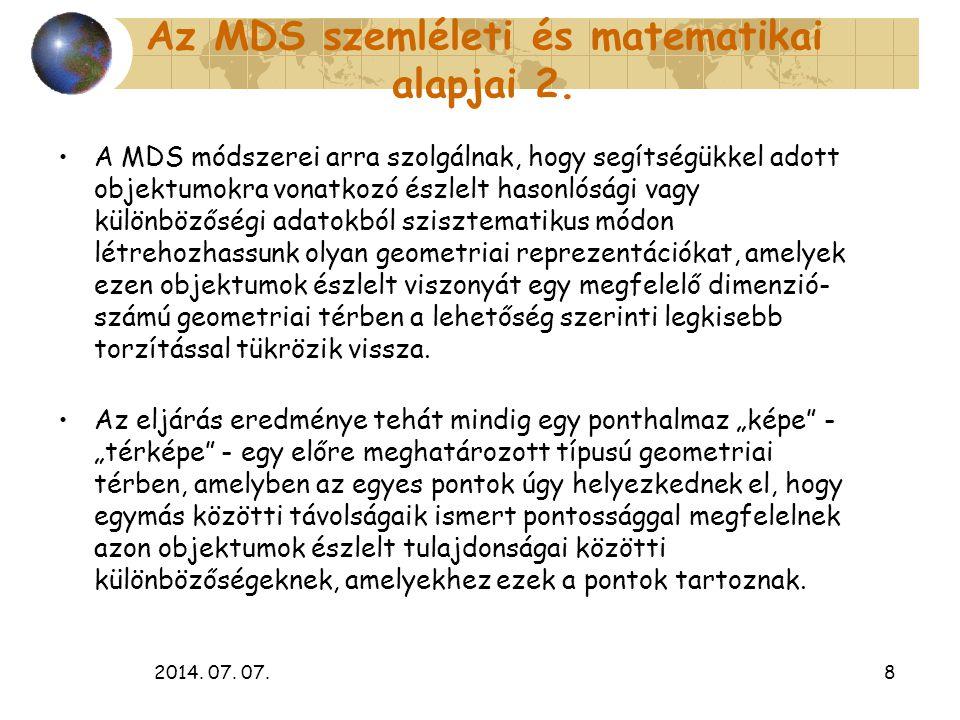 Az MDS szemléleti és matematikai alapjai 2.