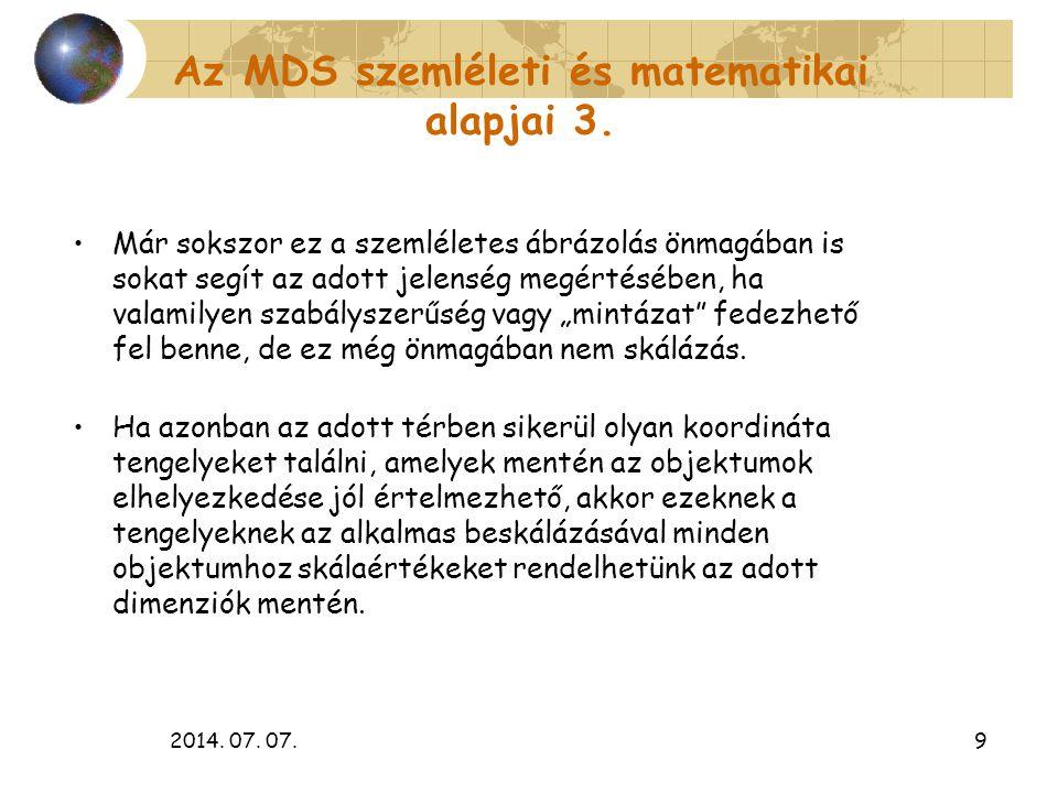 Az MDS szemléleti és matematikai alapjai 3.