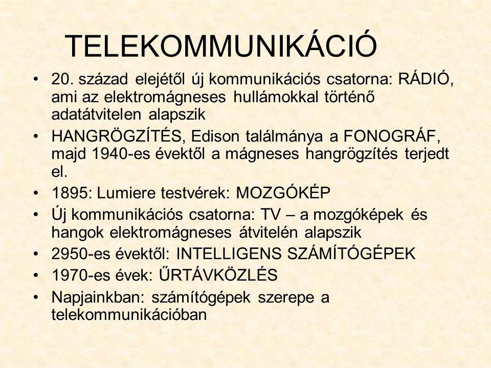 TELEKOMMUNIKÁCIÓ 20. század elejétől új kommunikációs csatorna: RÁDIÓ, ami az elektromágneses hullámokkal történő adatátvitelen alapszik.