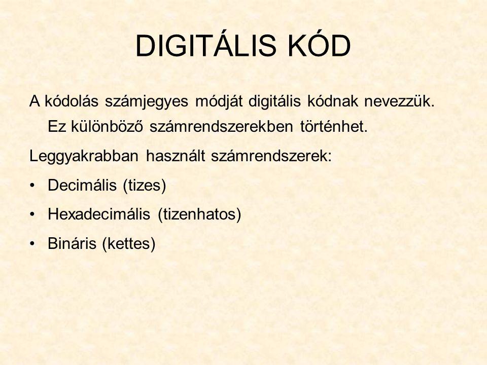 DIGITÁLIS KÓD A kódolás számjegyes módját digitális kódnak nevezzük. Ez különböző számrendszerekben történhet.