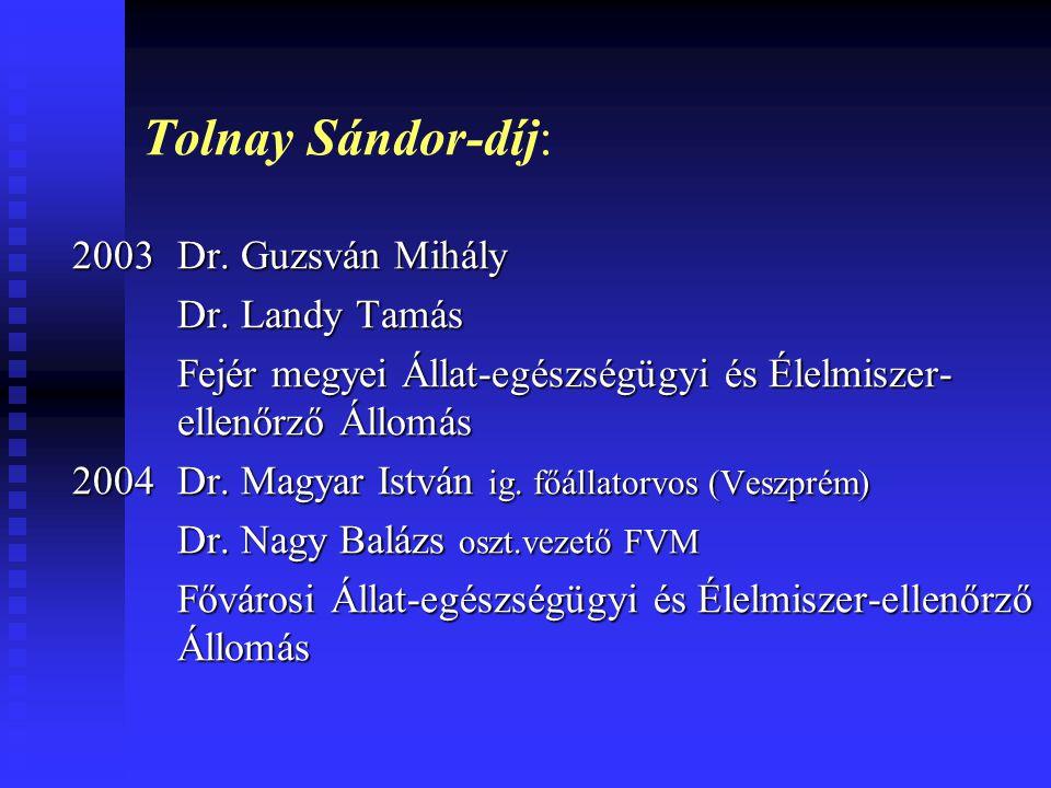 Tolnay Sándor-díj: 2003 Dr. Guzsván Mihály Dr. Landy Tamás