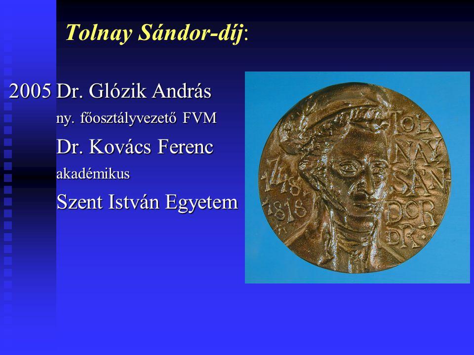 Tolnay Sándor-díj: 2005 Dr. Glózik András ny. főosztályvezető FVM