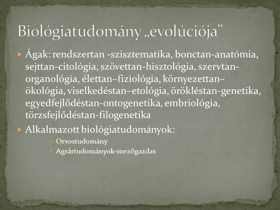 """Biológiatudomány """"evolúciója"""