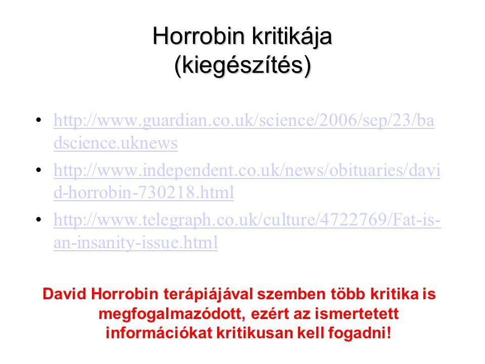 Horrobin kritikája (kiegészítés)