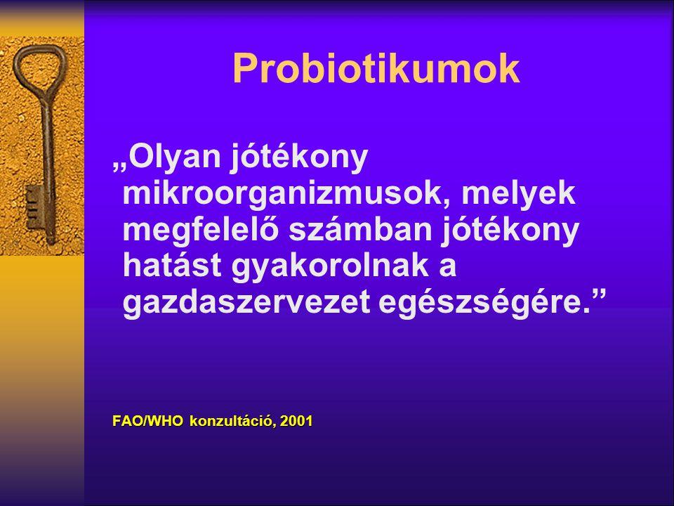 """Probiotikumok """"Olyan jótékony mikroorganizmusok, melyek megfelelő számban jótékony hatást gyakorolnak a gazdaszervezet egészségére."""