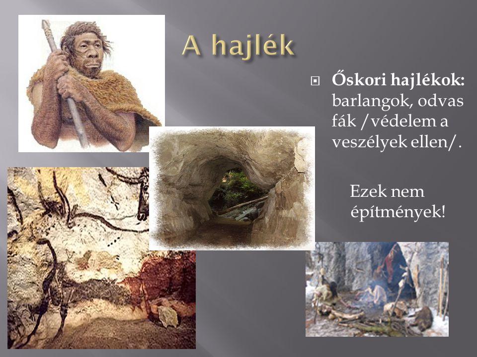 A hajlék Őskori hajlékok: barlangok, odvas fák /védelem a veszélyek ellen/. Ezek nem építmények!