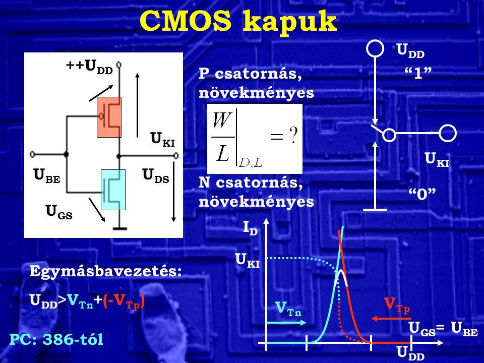 CMOS kapuk UDD ++UDD P csatornás, növekményes 1 UKI UKI UBE UDS