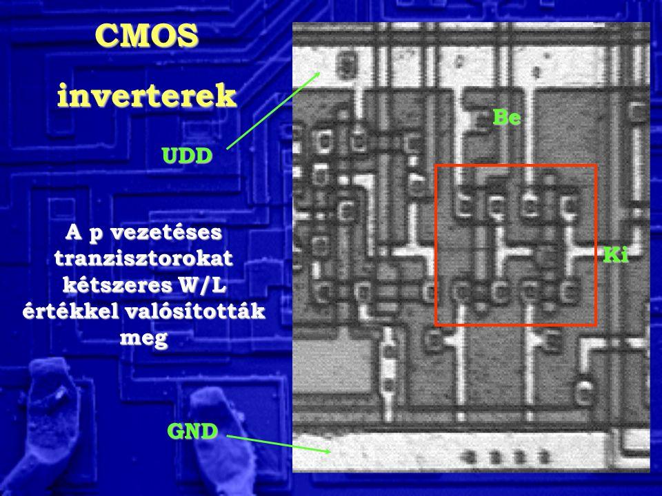 A p vezetéses tranzisztorokat kétszeres W/L értékkel valósították meg