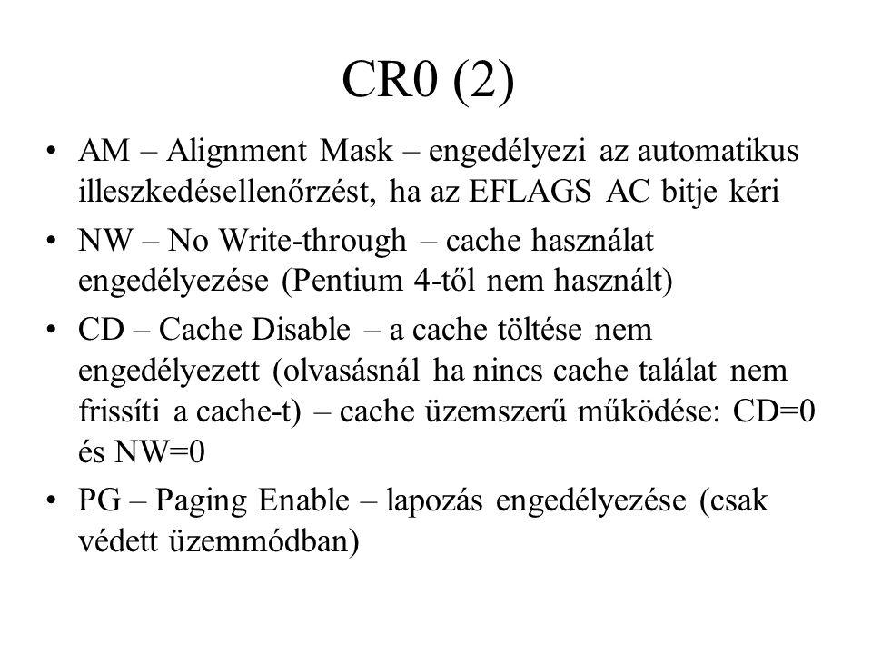 CR0 (2) AM – Alignment Mask – engedélyezi az automatikus illeszkedésellenőrzést, ha az EFLAGS AC bitje kéri.