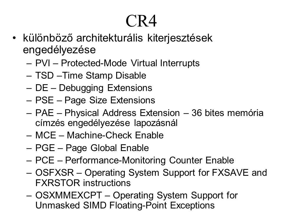 CR4 különböző architekturális kiterjesztések engedélyezése