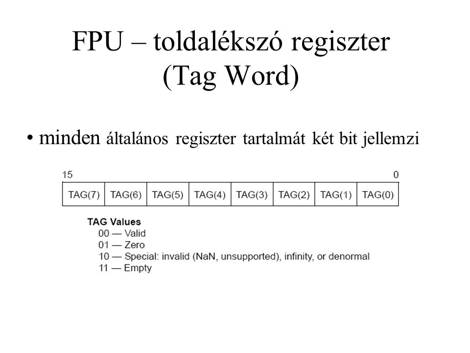 FPU – toldalékszó regiszter (Tag Word)