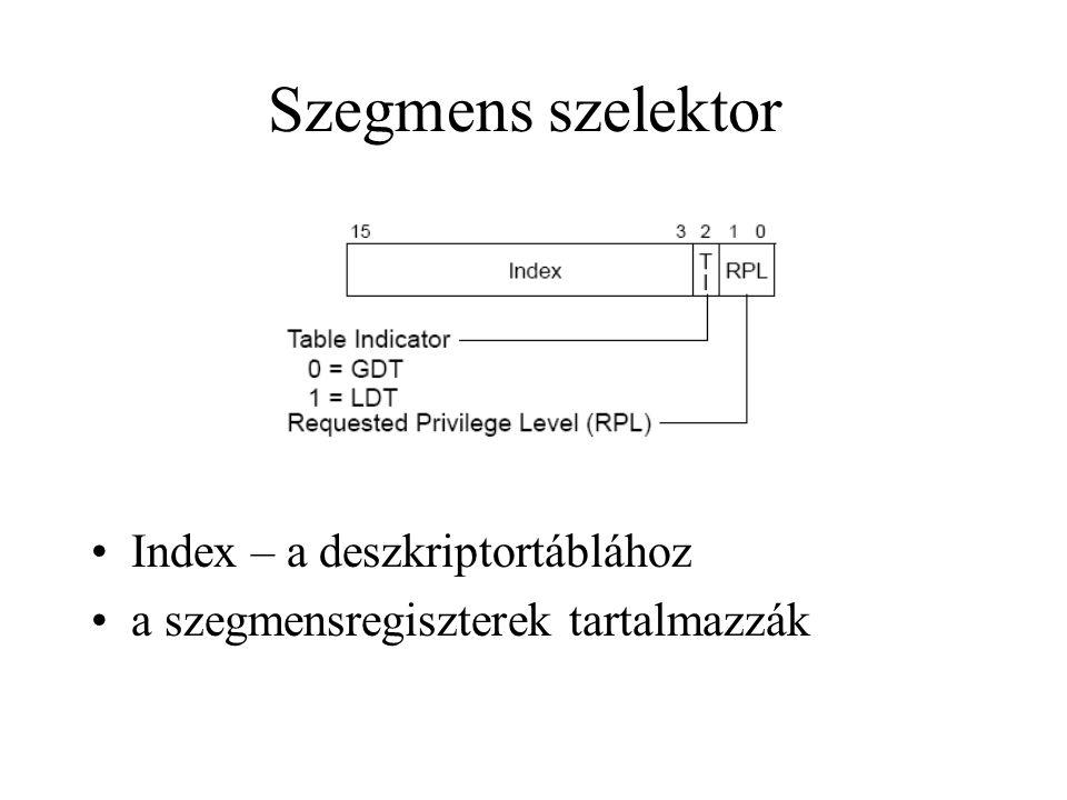 Szegmens szelektor Index – a deszkriptortáblához