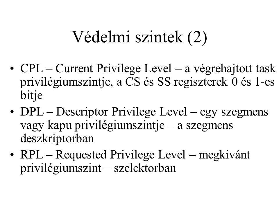 Védelmi szintek (2) CPL – Current Privilege Level – a végrehajtott task privilégiumszintje, a CS és SS regiszterek 0 és 1-es bitje.