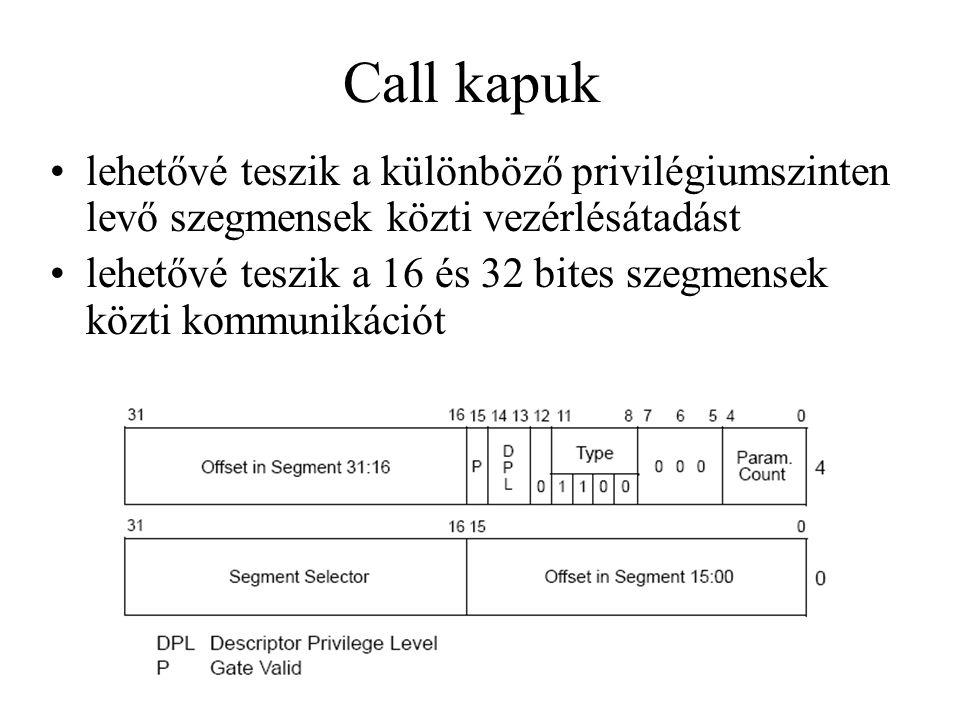 Call kapuk lehetővé teszik a különböző privilégiumszinten levő szegmensek közti vezérlésátadást.