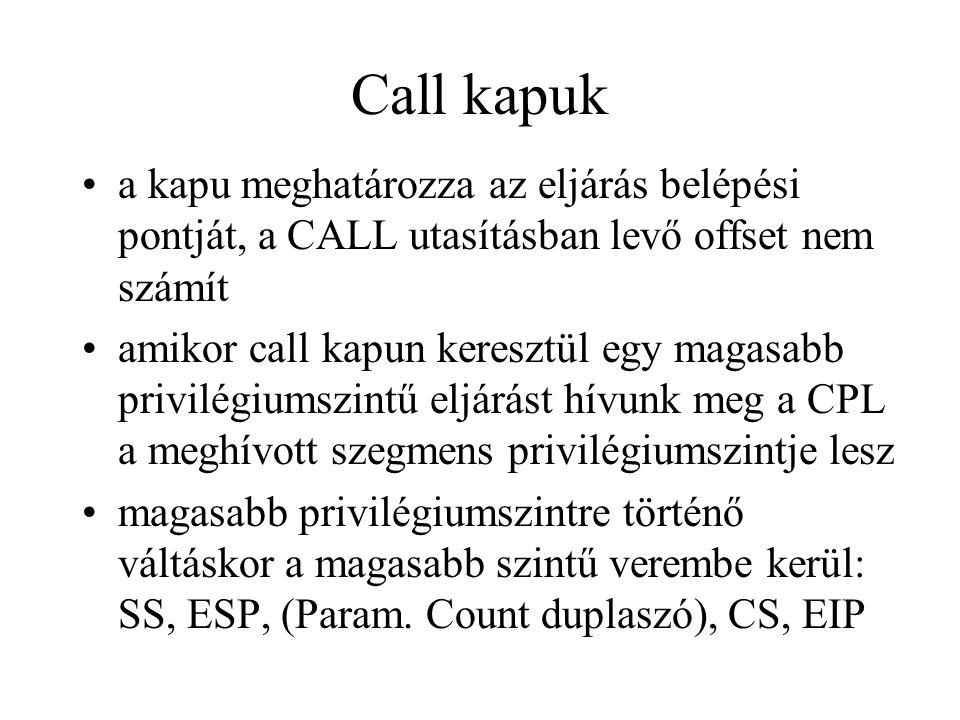 Call kapuk a kapu meghatározza az eljárás belépési pontját, a CALL utasításban levő offset nem számít.