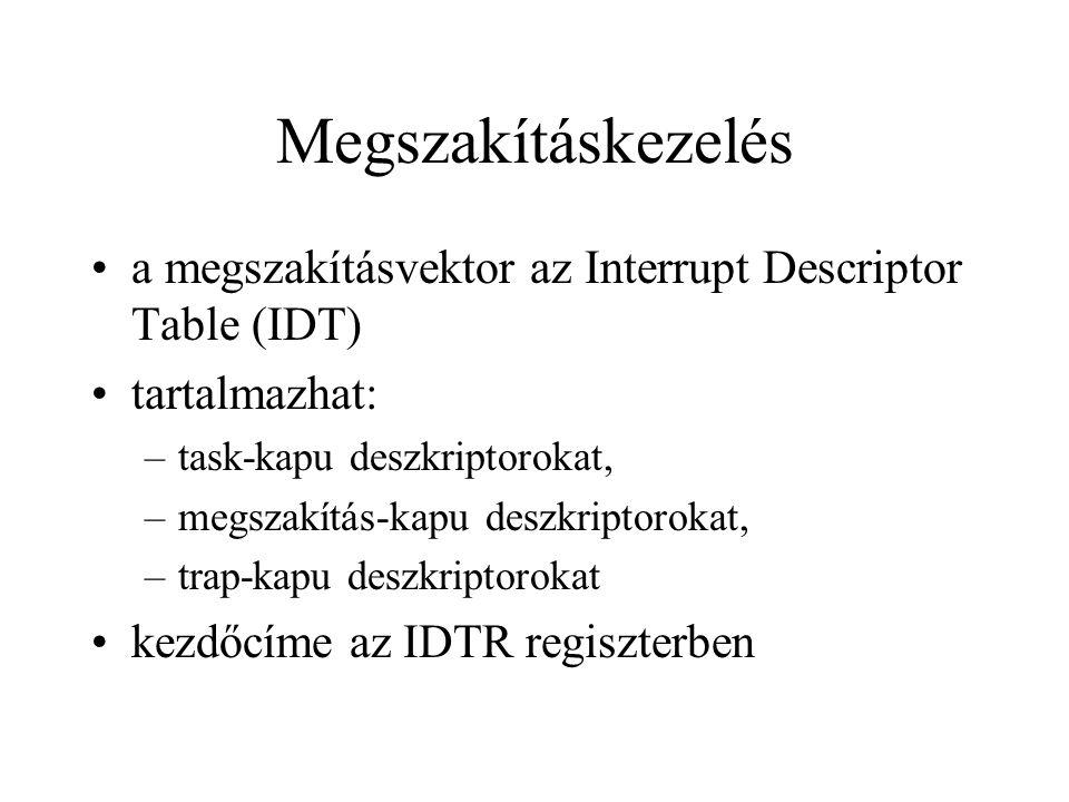 Megszakításkezelés a megszakításvektor az Interrupt Descriptor Table (IDT) tartalmazhat: task-kapu deszkriptorokat,