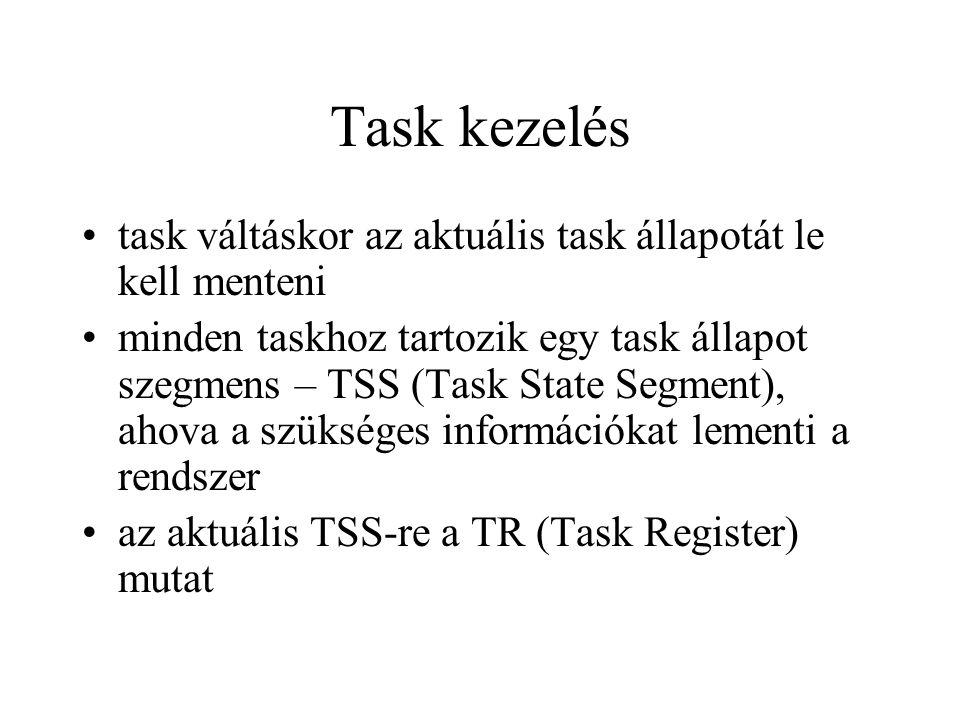 Task kezelés task váltáskor az aktuális task állapotát le kell menteni