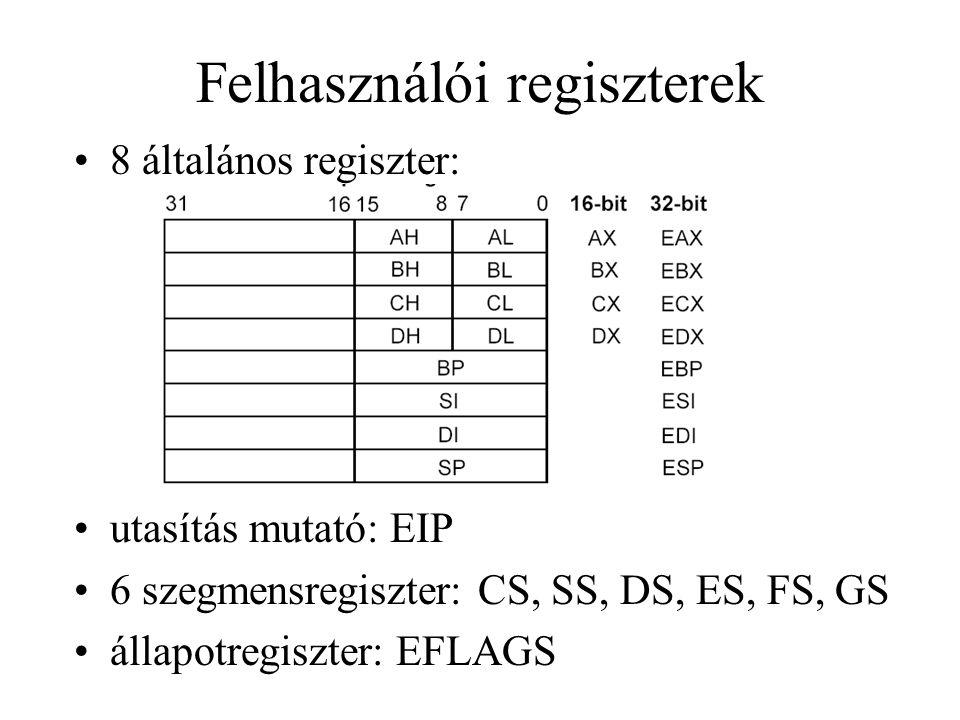 Felhasználói regiszterek