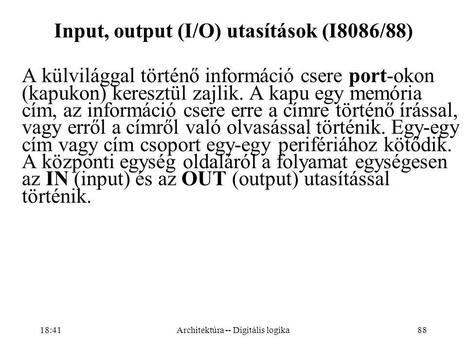 Input, output (I/O) utasítások (I8086/88)