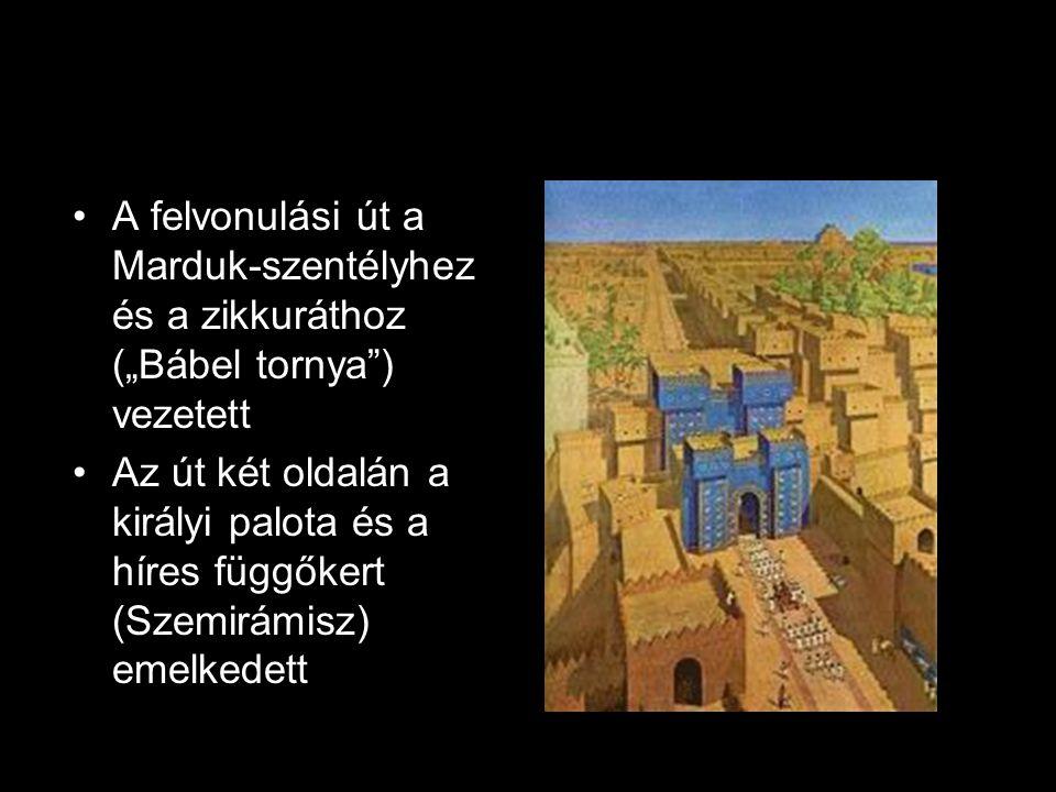 """A felvonulási út a Marduk-szentélyhez és a zikkuráthoz (""""Bábel tornya ) vezetett"""