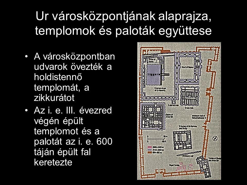 Ur városközpontjának alaprajza, templomok és paloták együttese