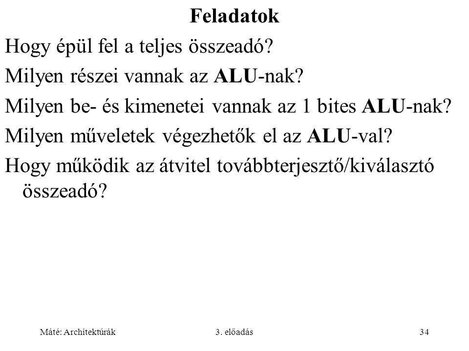 Hogy épül fel a teljes összeadó Milyen részei vannak az ALU-nak