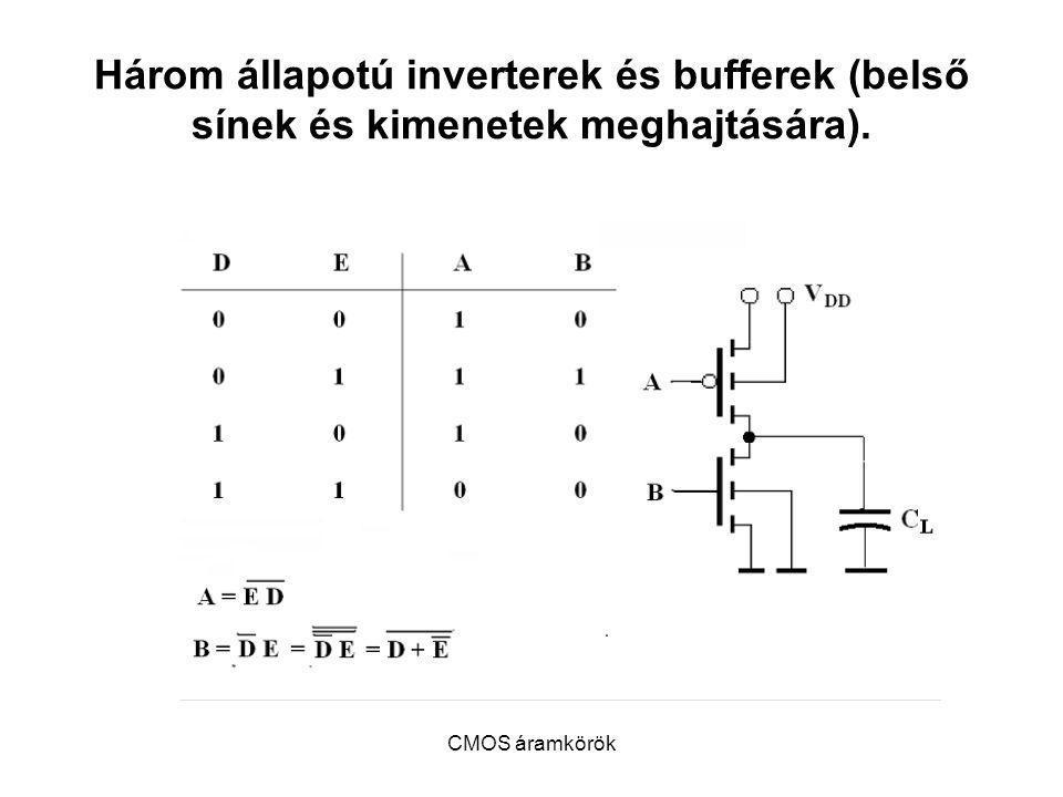 Három állapotú inverterek és bufferek (belső sínek és kimenetek meghajtására).