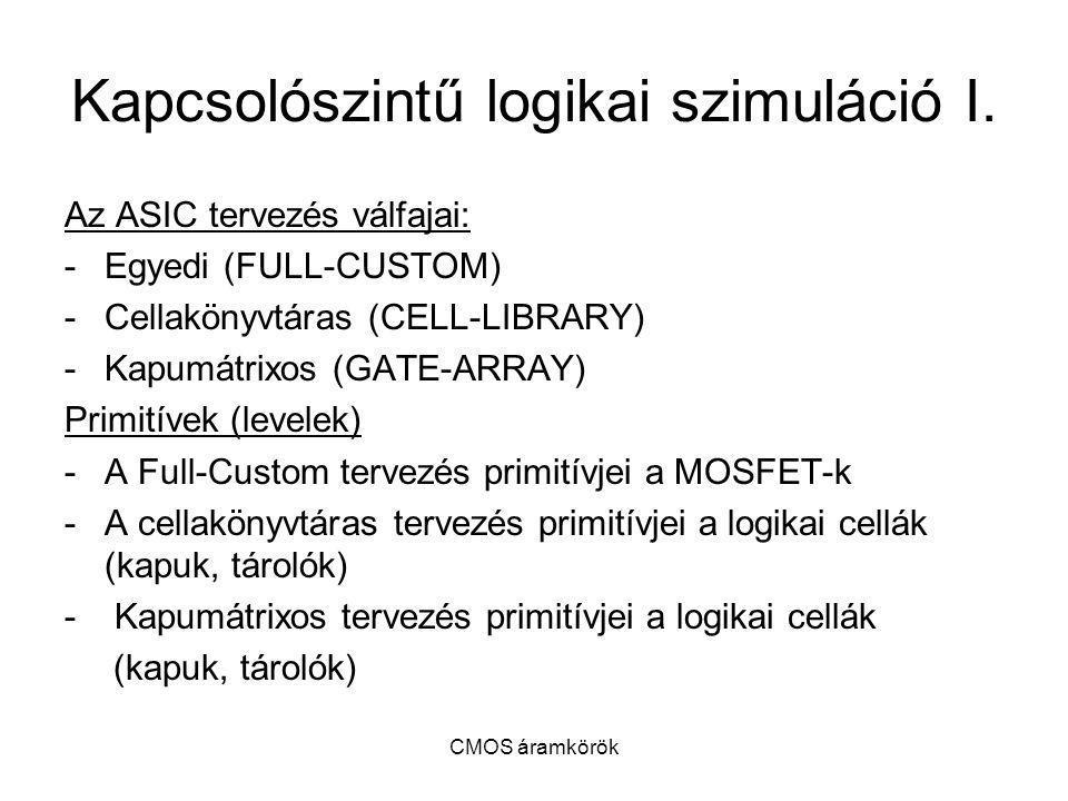 Kapcsolószintű logikai szimuláció I.