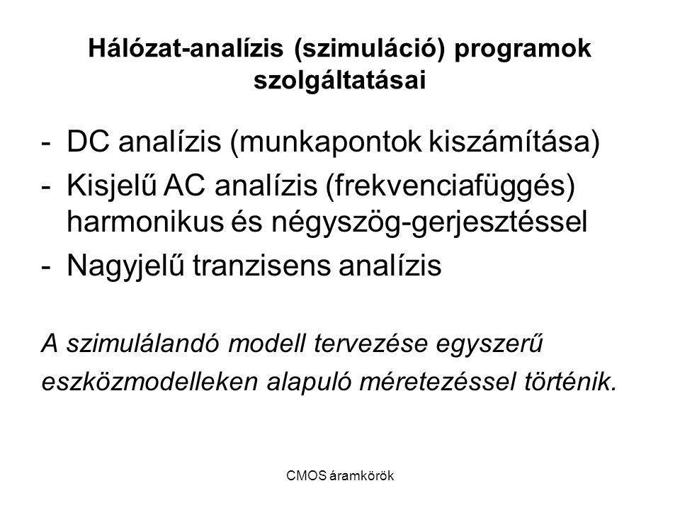Hálózat-analízis (szimuláció) programok szolgáltatásai