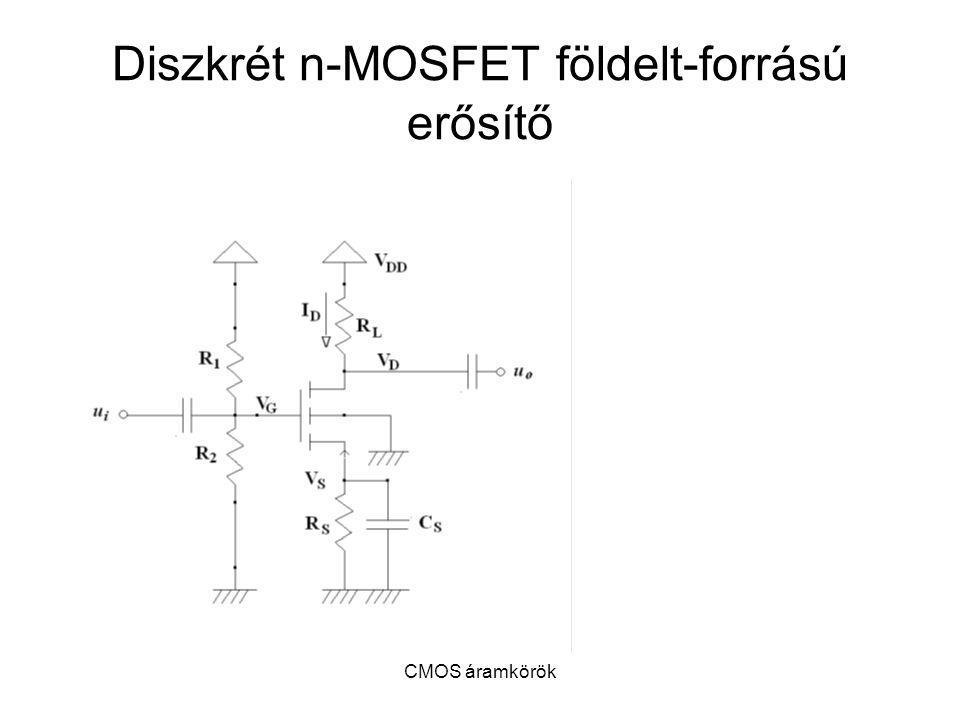 Diszkrét n-MOSFET földelt-forrású erősítő