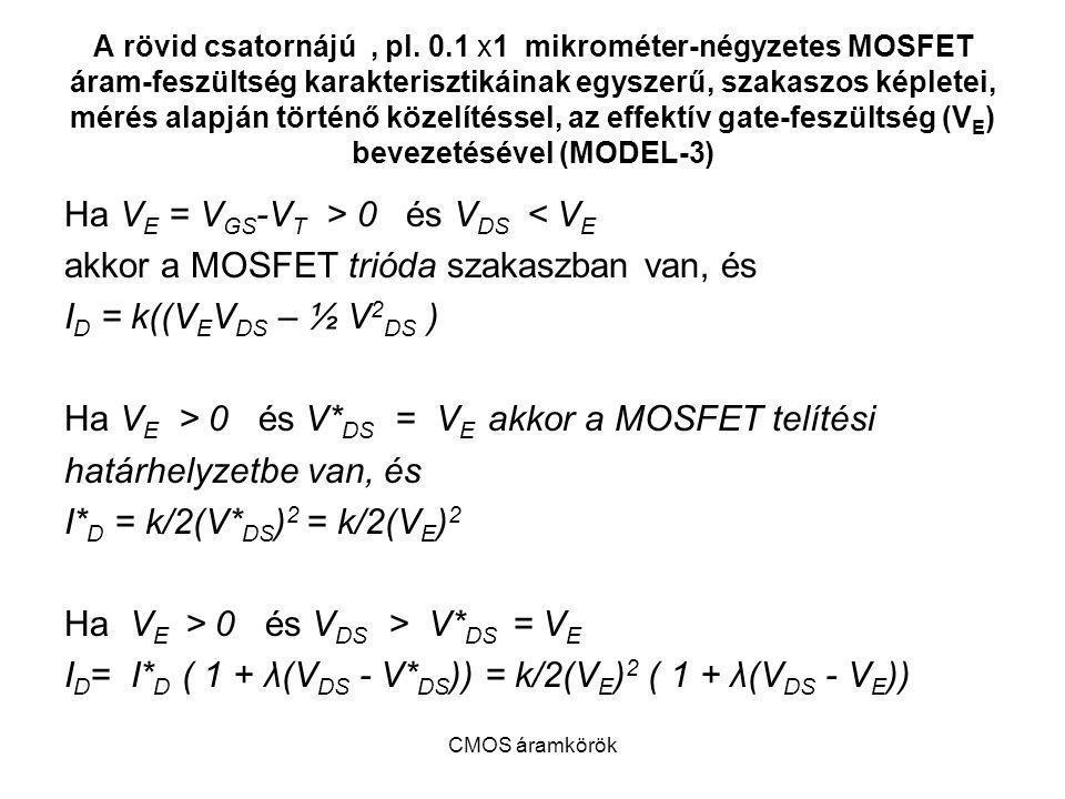 Ha VE = VGS-VT > 0 és VDS < VE
