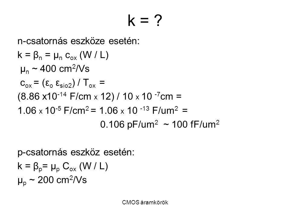 k = n-csatornás eszköze esetén: k = βn = μn cox (W / L)