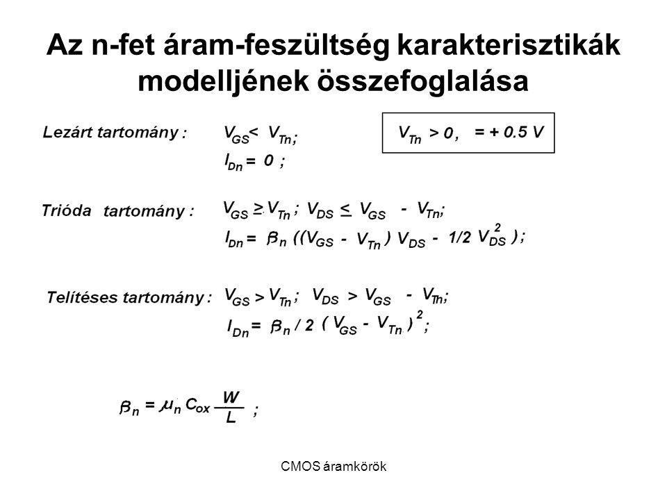 Az n-fet áram-feszültség karakterisztikák modelljének összefoglalása