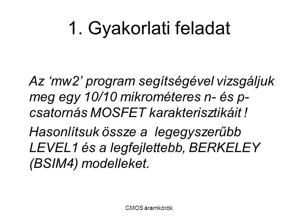 1. Gyakorlati feladat Az 'mw2' program segítségével vizsgáljuk meg egy 10/10 mikrométeres n- és p- csatornás MOSFET karakterisztikáit !