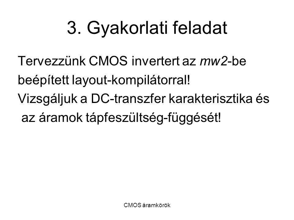 3. Gyakorlati feladat Tervezzünk CMOS invertert az mw2-be