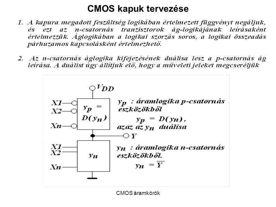 CMOS kapuk tervezése CMOS áramkörök