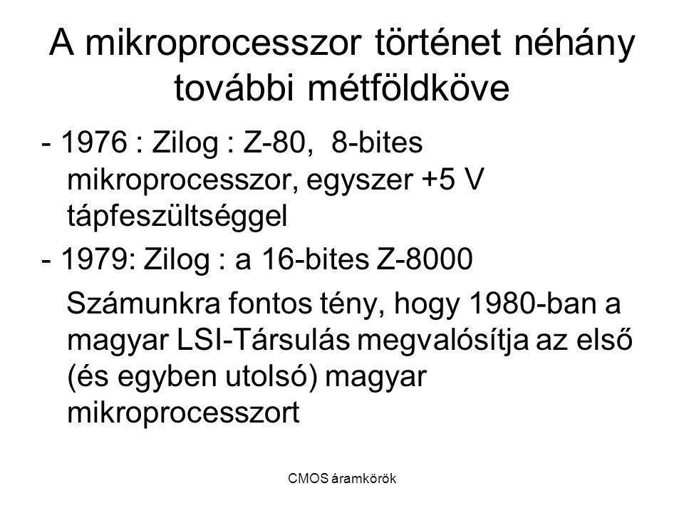 A mikroprocesszor történet néhány további métföldköve