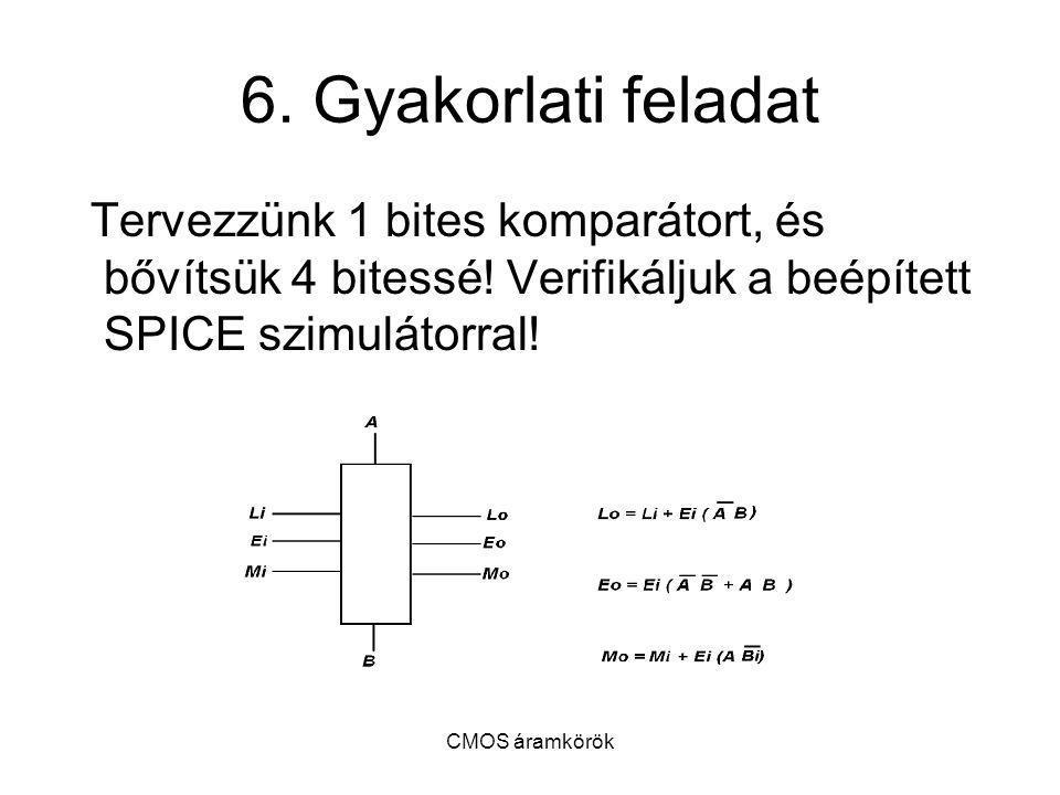 6. Gyakorlati feladat Tervezzünk 1 bites komparátort, és bővítsük 4 bitessé! Verifikáljuk a beépített SPICE szimulátorral!